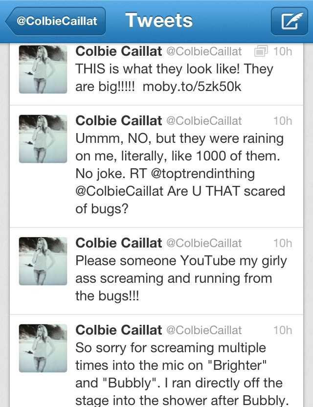 A screengrab of Colbie Caillat's tweets about mayflies at Stage AE.