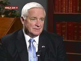Gov. Tom Corbett met with the Board of Trustees as they moved forward with an internal university investigation about the abuse allegations.