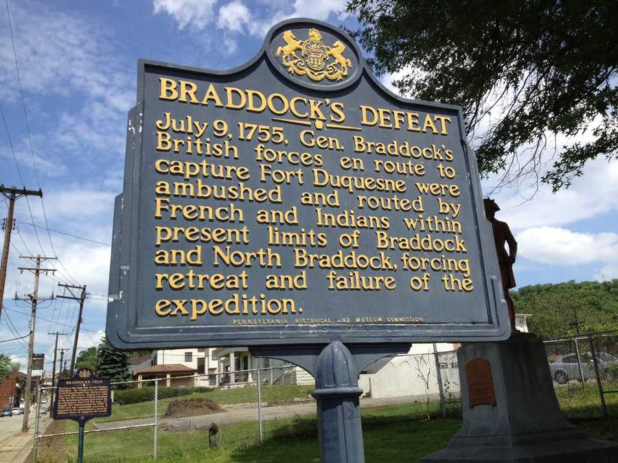 A marker depicts the spot where Gen. Braddock's forces were defeated by French and Indians in 1755.