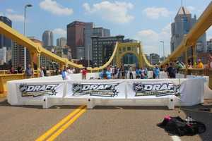 Wednesday, some of the top prospects took part in a dek hockey game on the Roberto Clemente Bridge, with the skyline of the city of Pittsburgh as the backdrop.