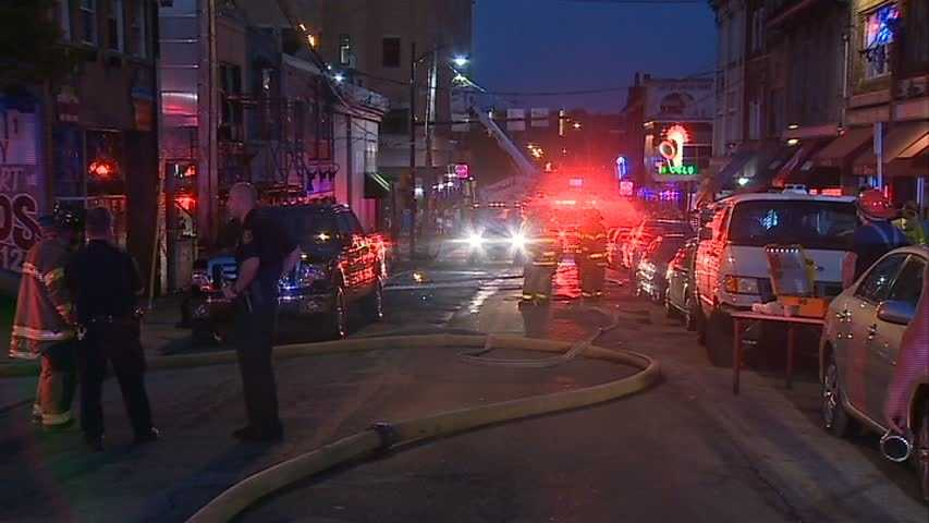 Crews had to shut down Oakland Avenue until they were able to deal with the sparking wires.