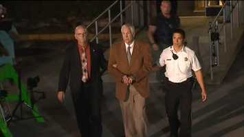 A teary-eyed Jerry Sandusky left the Centre County Courthouse in handcuffs after being found guilty on 45 of the 48 counts he faced. Click Here to watch RAW video of him being led away in handcuffs.
