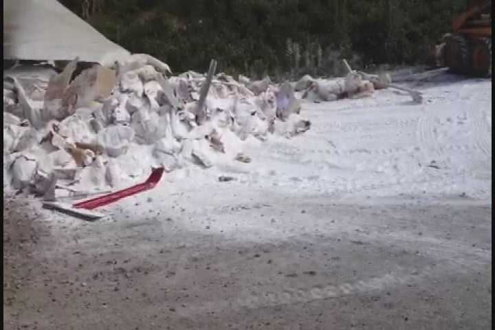 The trailer split and the sugar spilled onto Warrendale Road.