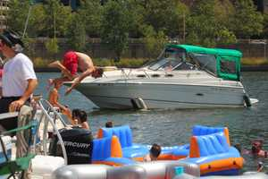 Diving off of boats into the Allegheny River...