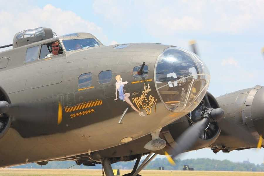"The ""Memphis Belle"" on display at the Allegheny County Airport was built toward the end of the war and never actually saw any combat.  It is painted in the colors and nose art of the original historic ""Memphis Belle"""