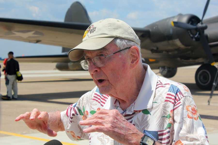 George Cahill served on a B-17 bomber during World War II, and was part of the media ride Monday.