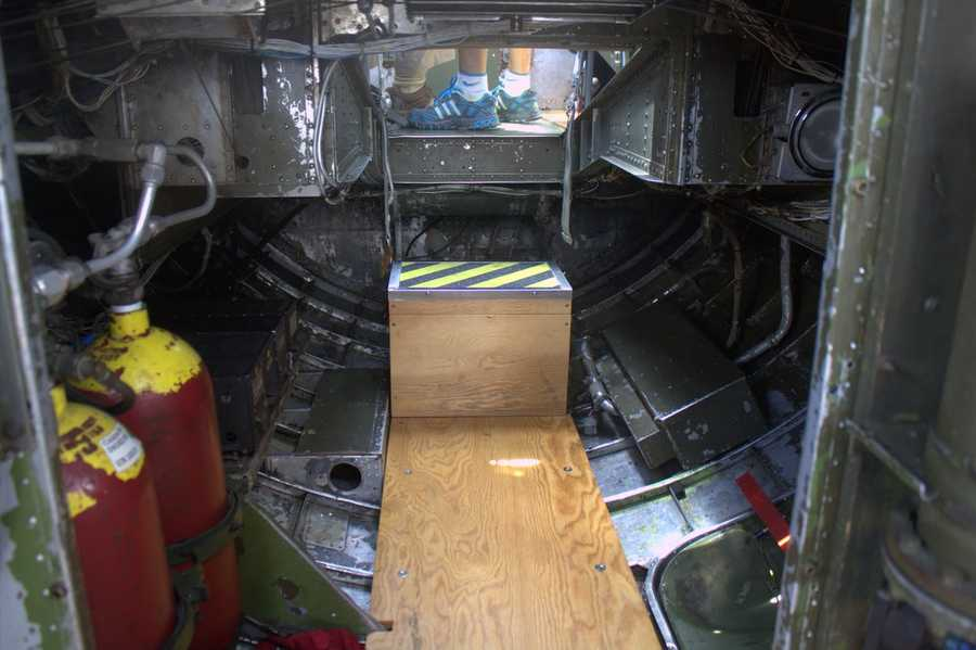 This is the crawlspace one must use to get to the nose of the bomber.