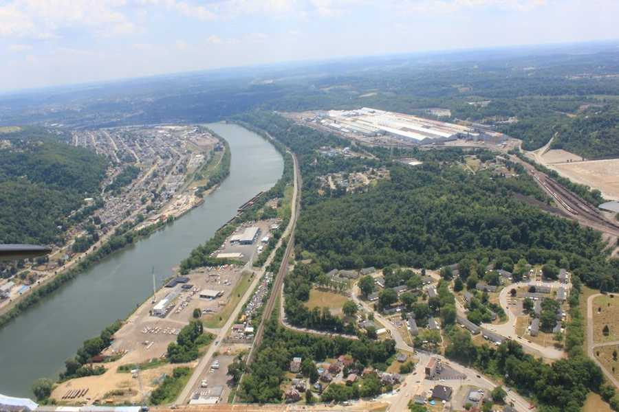 View from the B-17 bomber as we fly over the eastern suburbs of Pittsburgh near Allegheny County airport.
