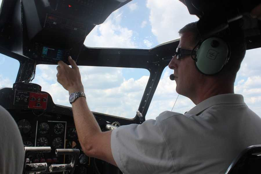 Pilot Ray Fowler at the controls of the B-17.  The Liberty Foundation will be offering paid rides to members of the public.