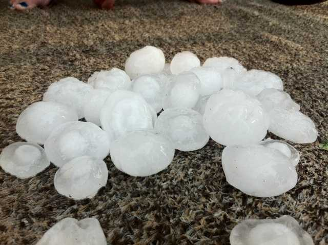 Douglas McGrath sent in these photos of what appears to be golf ball-sized hail in North Versailles.