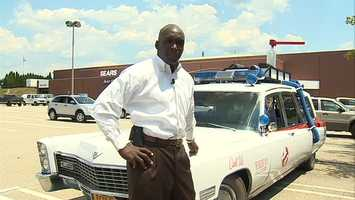 Channel 4 Action News' Sheldon Ingram with Ecto-1