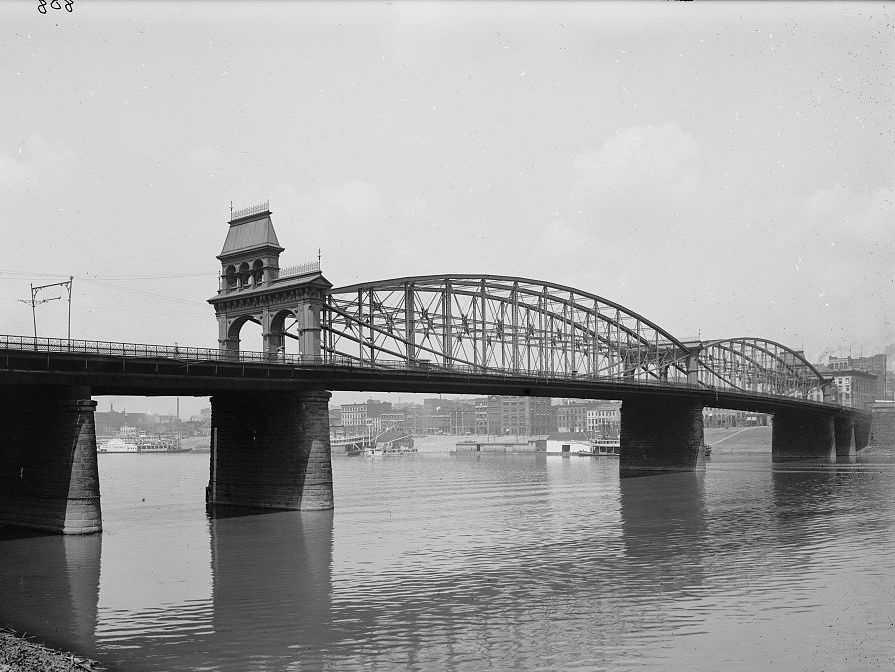 The Smithfield Bridge from across the Monongahela River.