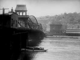 Looking across the Monongahela River at the Pittsburgh and Lake Erie Railroad Building.