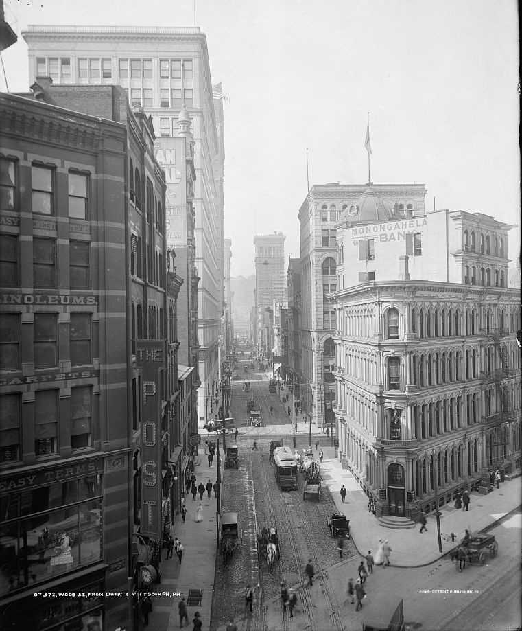 Looking down Wood Street from Liberty Avenue, circa early 1900s.
