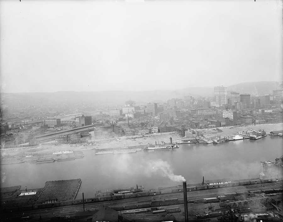 1903 - a look across the Monongahela River toward Downtown Pittsburgh .