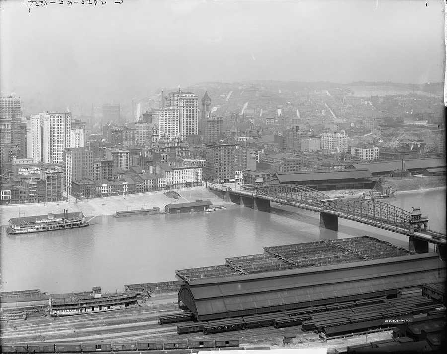 1908 - Looking from Mount Washington across the Monongahela River into Downtown Pittsburgh.