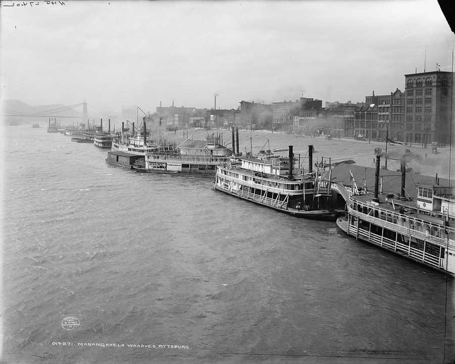 1902 - Dozens of boats are parked along the Monongahela Wharf