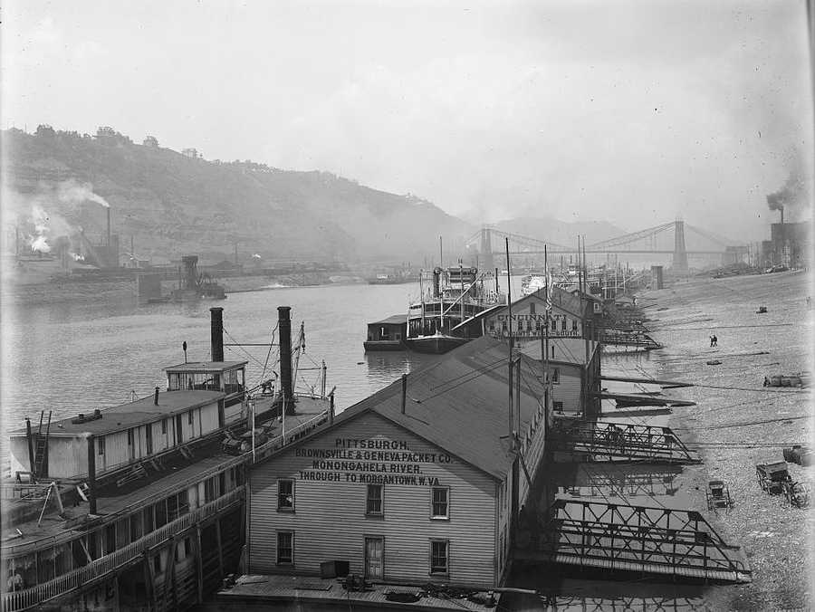 Another look at ships parked along the Monongahela Wharf in Downtown Pittsburgh between 1900 and 1910.