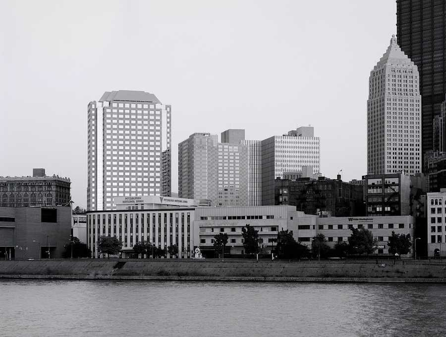 Looking across the Allegheny River from the North Shore in the 1980s.  This area is currently occupied by the David. Lawrence Convention Center.