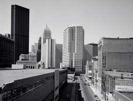 Looking down Penn Avenue in Downtown Pittsburgh in the 1980s.