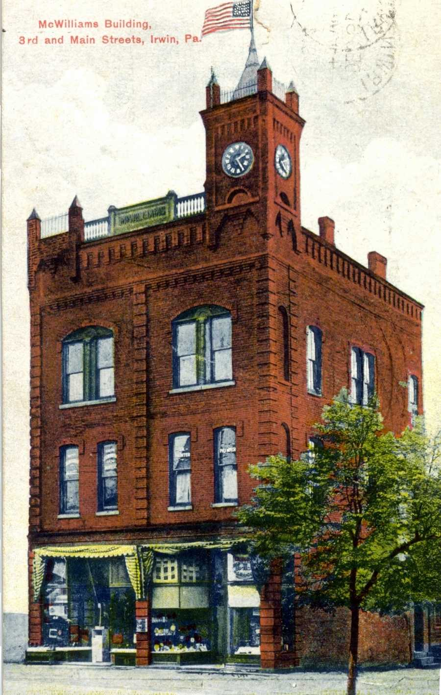 Another look at the McWilliams Building, and clock tower at the corner of 3rd and Main Street in Irwin