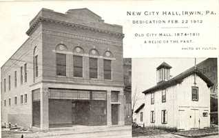 A photo that compares the new and old City Hall buildings in Irwin.