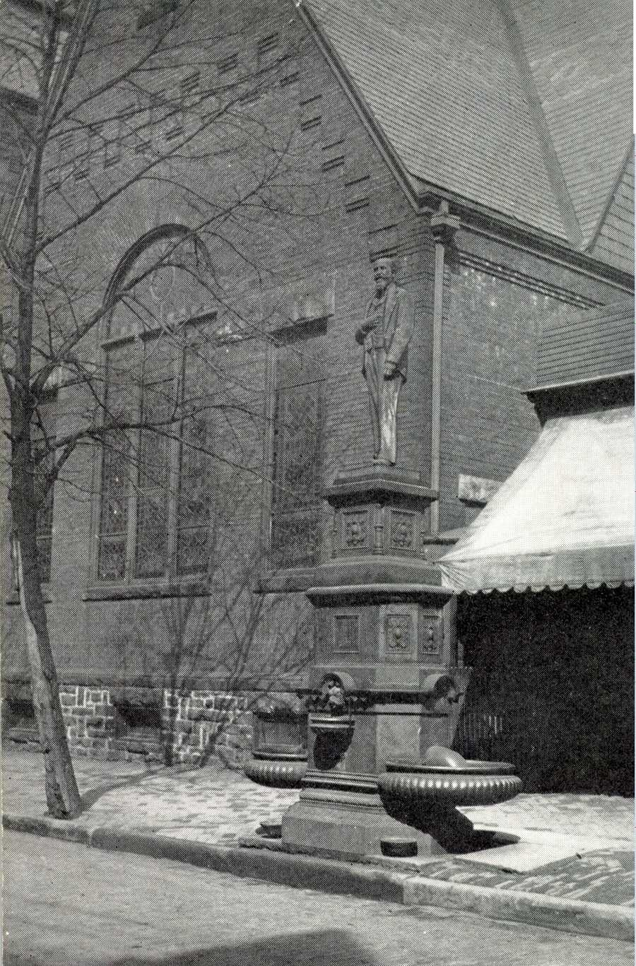 The John F. Wolf Memorial Fountain on Main Street in Irwin was dedicated in January 1901.  The fountain was removed years later.