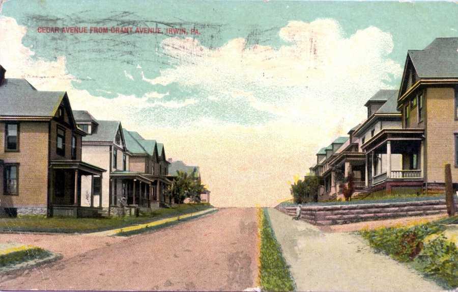June 1915: A look down Cedar Avenue from Grant Avenue in Irwin