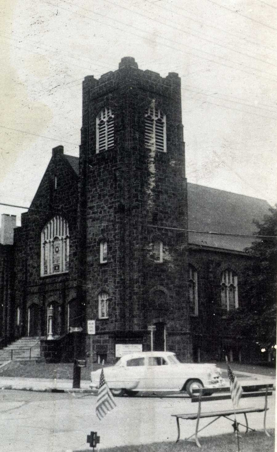 First Presbyterian Church at the corner of Main Street and Pennsylvania Avenue in Irwin