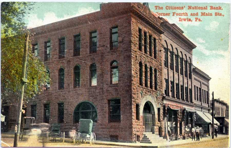 Citizens National Bank at the corner of 4th Street and Main Street in Irwin