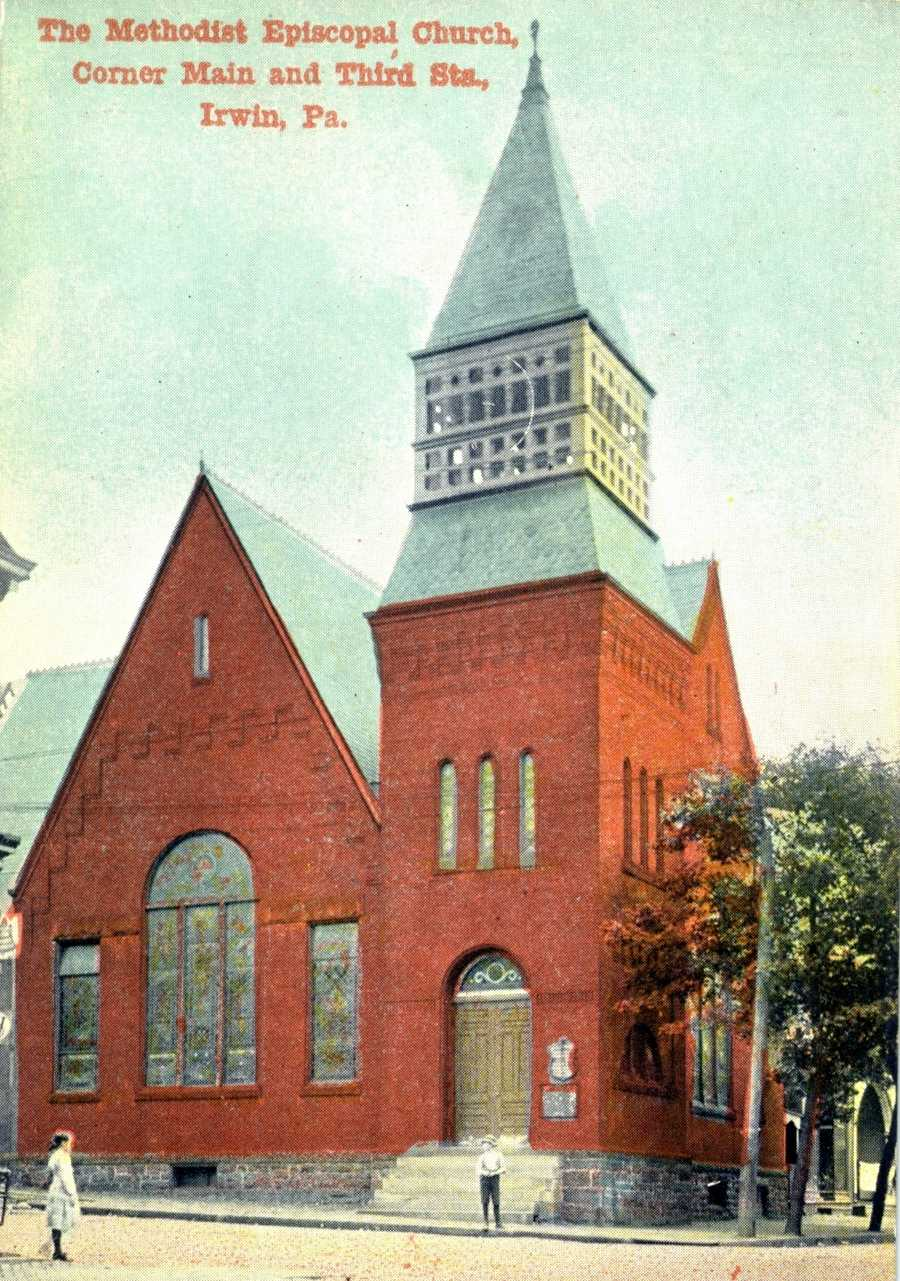Methodist Episcopal Church at the corner of 3rd and Main Street in Irwin.