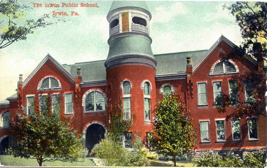 November 1915: The original Irwin Public School from 1891-1931 on 6th Street in Irwin.  The building of 15 rooms was destroyed by fire.