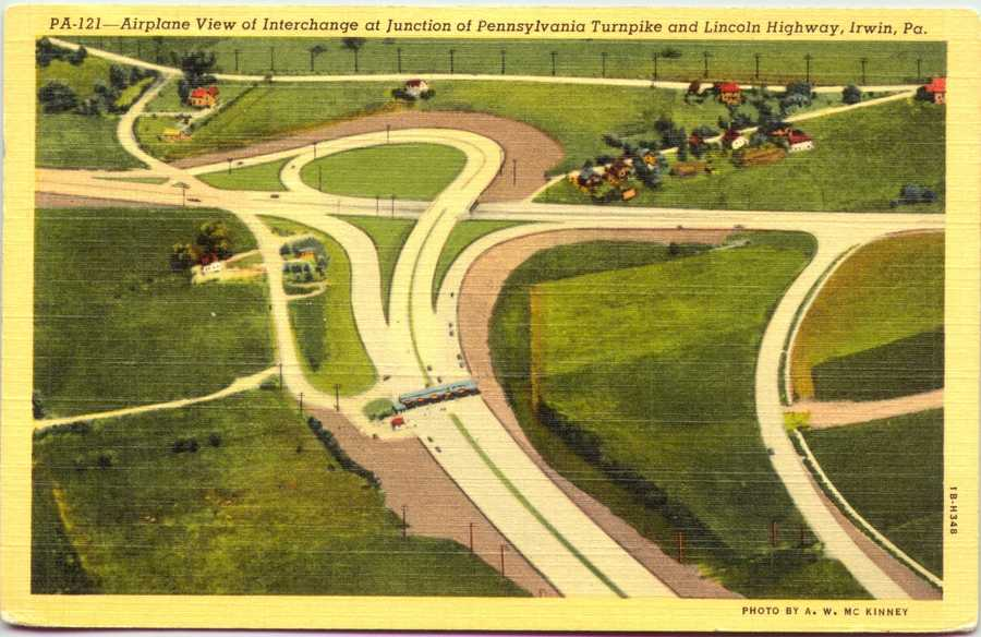 Aerial view of the Pennsylvania Turnpike Irwin interchange and Route 30. At one time, the Turnpike ended in Irwin.
