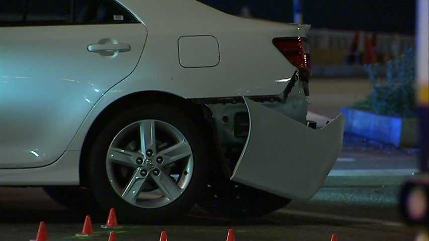 The suspect's car had damage on the rear bumper and...