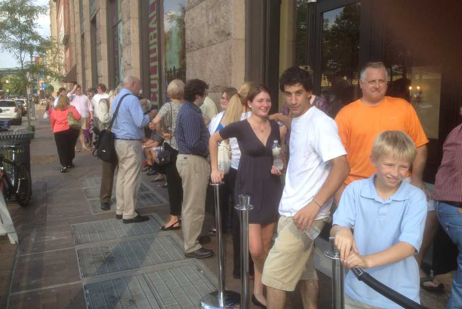 Movie fans lined up to get an early look at the new Batman film.