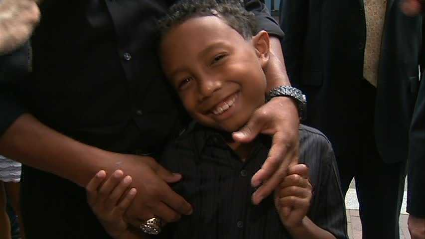 He brought his son, Jaden, who gave a thumbs-up to the new Batman flick.
