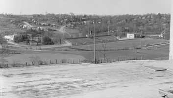 Taken from the Mt. Lebanon High School parking lot looking across the football field to Greenhurst Drive in 1967.