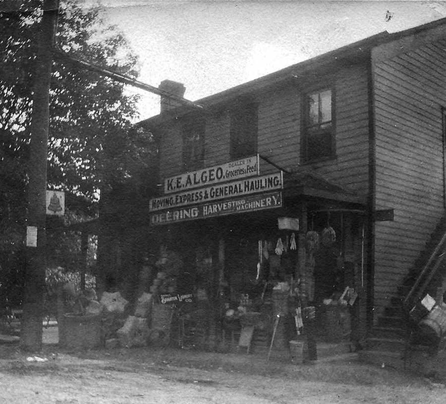 Park and Kate Algeo purchased a store on the corner the corner of Washington and Bower Hill Roads in 1898. It contained everything from farm supplies of all kinds to a pack of needles.