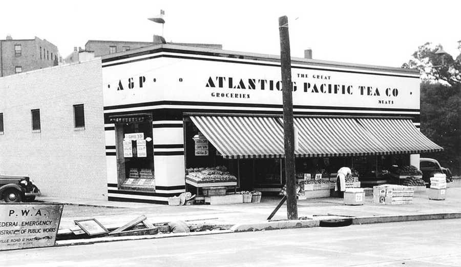 This photograph shows the A&P market on McFarland Road in the 1930s. Around WWII, the grocery moved to a larger building a bit farther down the road, and a Donahoe's market moved into this spot. In 1953, Rollier's hardware, which had originally opened in 1922 in Shadyside, took over the building. It was the first local self-serve hardware storewith prepackaged nuts, bolts, and nails.