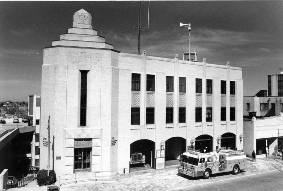 Mt. Lebanon's original municipal building was designed in 1928 and it is made of Indiana limestone with decorative carvings. The $240,000 building was dedicated in September 1930 and for many years was the home of the library and fire and police departments.