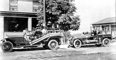 This photo, provided to the Mt. Lebanon Historical Society by the fire department, shows two fire trucks parked outside 520 Washington Road, which is believed to be Mt. Lebanon's first fire station.