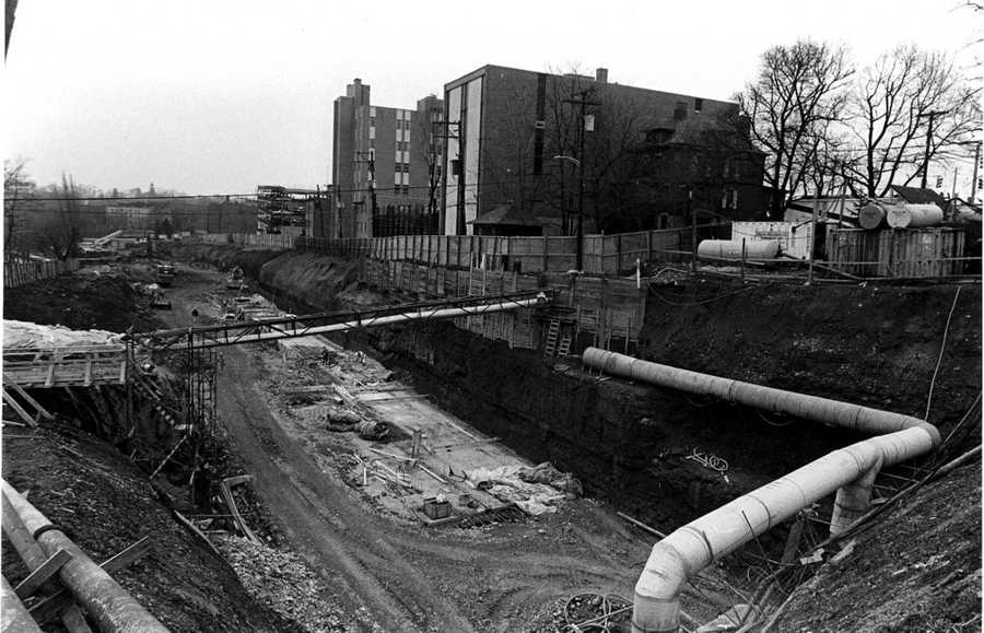 This 1986 picture shows work on the platform and tunnel for the new light rail station on Shady Drive East. Several houses and an apartment building were razed for the project.