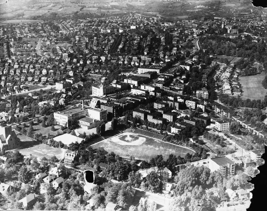 This aerial view of the Washington Road area was taken in 1936&#x3B; a year later construction began on Mellon Junior High in the large open space to the left of the Washington School field.
