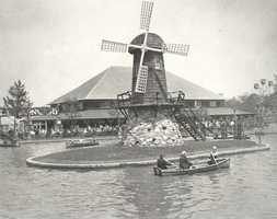 Pictured here is the old Victorian Windmill, once located in the middle of the lagoon. It is a wooden structure built on a stone foundation and is one of the oldest structures in the park. It was built in 1921.