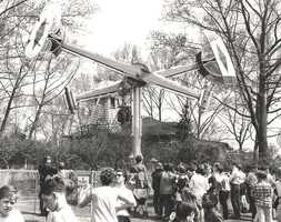 Kennywood's Loop-O-Plane ride, which was removed in 1950 in favor of a more modern version of the ride. Several rides have come and gone from this location in the park.