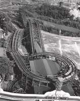"""An aerial photo of """"The Racer"""" - a twin track-racing coaster, built by the Ingersoll Brothers in 1910, and costing nearly $50,000. It was the largest racing coaster in the world when built. The original """"Racer"""" was torn down in 1910, and the current """"Racer"""" we all know was put up in its place."""