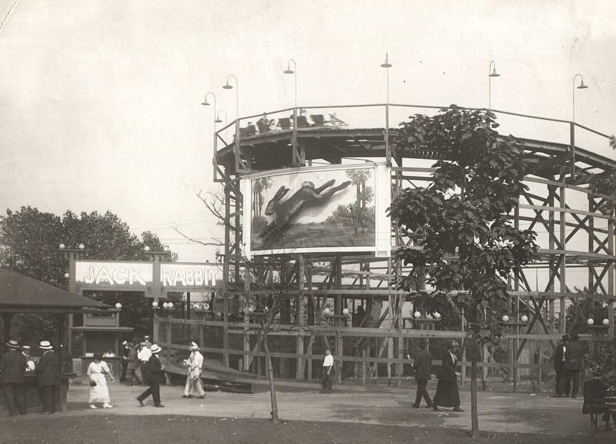 A historical photo of the Jack Rabbit. In 1921, Kennywood Park hired one of America's top coaster to design a new high-speed coaster. John A. Miller designed the new $50,000 coaster. It takes advantage of a ravine on the edge of the park. The train is made up of three seat cars with a capacity of 18. Originally the ride had a tunnel after the first drop, but the tunnel was removed in the 1940's. It was restored in 1991.
