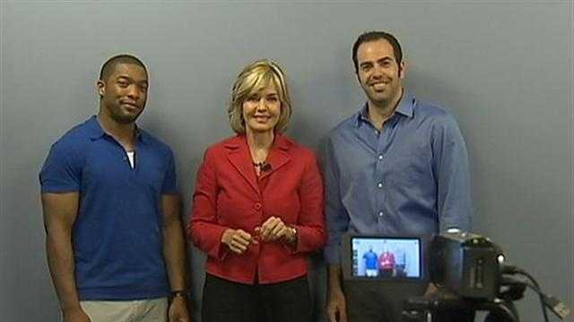 Actors Joshua Reese (left) and Patrick Jordan with Channel 4 Action News anchor Sally Wiggin