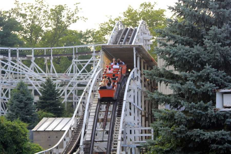 A modern-day view of the Jack Rabbit&#x3B; folks arriving at the end of the ride.
