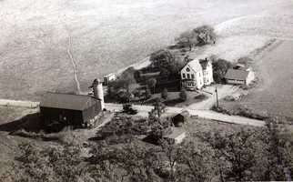 An aerial photo of the Frank and Nell Leonberg farm on Marshall Road. The area is now home to a housing development.